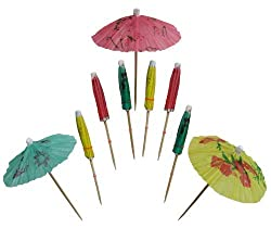 Chef Craft Set of 48 Party Umbrella Sticks. Assorted Colors, Polished Hardwood.