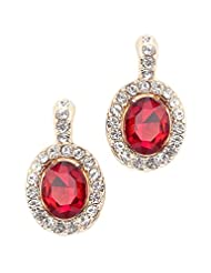 BIG Tree 18K Gold Plated Classic Red Stone Earring For Women.
