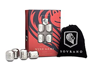 Wine Chiller - Stainless Steel Wine Gems by Sovrano - Set of 4 Unique Beverage Chillers - Includes Premium Gift Box & Storage Pouch - The Best Wine Accessory Gift For Men or Women