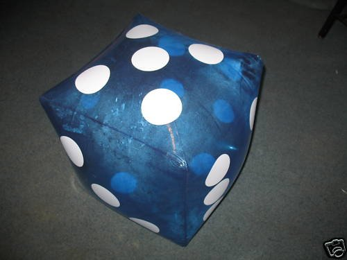 "HUGE 16"" Inflatable BLUE Dice - PARTY DECORATION/Favor/GAG/Prank GIFT/CASINO/INFLATE/TOY"