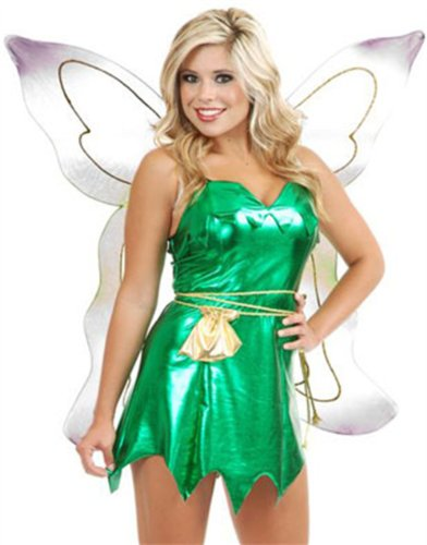 Womens Sexy Metallic Green Tinker Bell or Peter Pan Costume