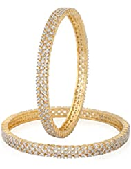 INDIAN FESTIVAL DESIGN CZ AMERICAN DIAMOND 3-LAYRE GOLD PLATED BANGLES SET FOR WOMEN SIZE 2.8