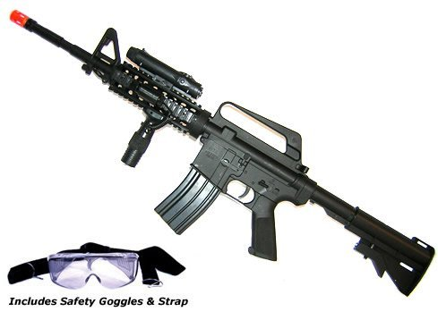M16A4 Airsoft Rifle with LED illuminator, laser sight & adjustable gun stock