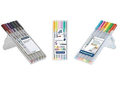 Staedtler Triplus Fineliner Pens 18-Color Pastel, Neon and Nature Color Pen Set by Staedtler (Triplus Fineliner Nature Colours compare prices)