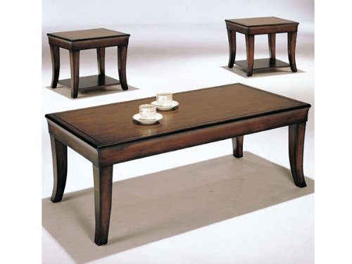 3 pc dark brown finish wood coffee table set