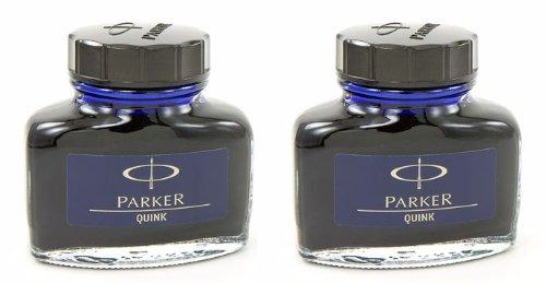 Parker Quink Encre en bouteille-Bleu Noir permenant Lot de 2