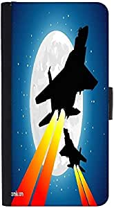 Snoogg Moon And Jet Fighters Graphic Snap On Hard Back Leather + Pc Flip Cove...