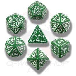 Q-Workshop Polyhedral 7-Die Set: Carved Elven Elvish Dice Set (Green And White)