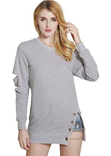 Qiuse Women's Faddish Side-Split Hollow-Out Pullover Loose Hoodies Sweatshirt (Medium, Grey)