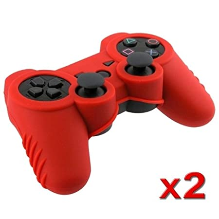 eForCity Red Soft Silicone Skin Case (2 Pack) for Sony PS3 Controller