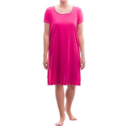 lucky-schlafshirt-chemise-de-nuit-a-manches-courtes-avec-dentelle-rose-x-large