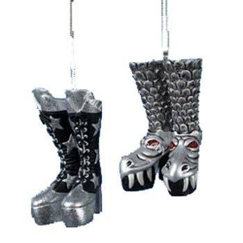 Hand-blown Glass Boot Ornaments - Kiss Gene Simmons Demon Dragon and Paul Stanley Starchild Boot Ornament Set