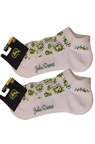Pack of Two John Deere Casual White Ankle Socks with Green and Yellow Floral/Paisley Design. Fits Women shoe sizes 4-10.