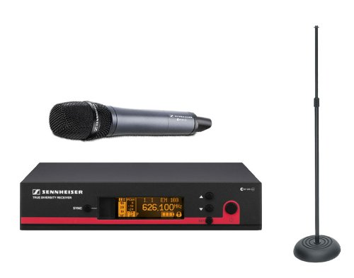 Sennheiser Ew Wireless Handheld Mic System Ew135 G3 G (566-608 Mhz) True Diversity Rack Mount Wireless Microphone System With Round Base Mic Stand