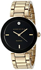 Anne Klein Women's AK/1362BKGB Diamond Accented Black Dial Gold-Tone Bracelet Watch