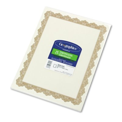 Parchment Paper Certificates, Optima Gold Border, 25/Pack [Set of 2]