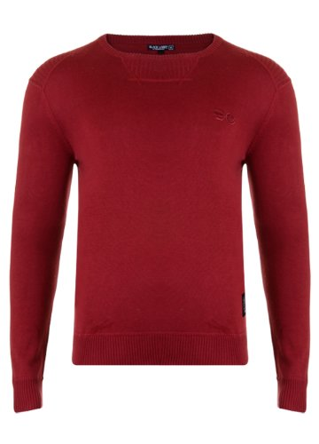 Mens 'CrossHatch' Crew Neck Fine Knit Jumper With Ribbed Details. Style Name - Lyon. In Claret Size - XLarge