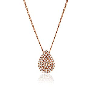 14K Diamonds Pendant Pear Shape with Necklace-Round Diamonds (H-I Color, Full Cut) (rose-gold)