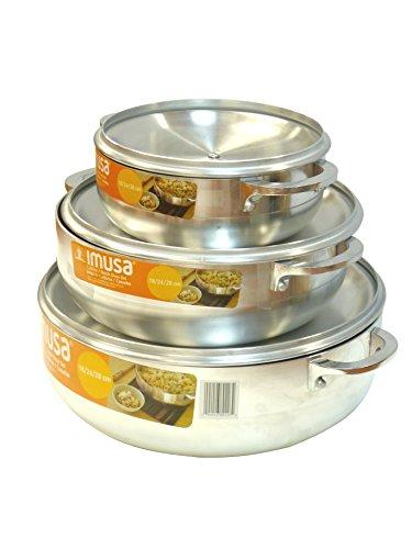 IMUSA USA GAU-89226 3-Piece Caldero Set, 18 by 24 by 28cm, Silver (Rice Pot Caldero compare prices)