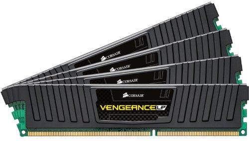 Corsair CML16GX3M4X1600C7 Vengeance LP 16GB (4x4GB) DDR3 1600 Mhz CL7 Mémoire pour ordinateur de bureau performante avec profil XMP. Noir