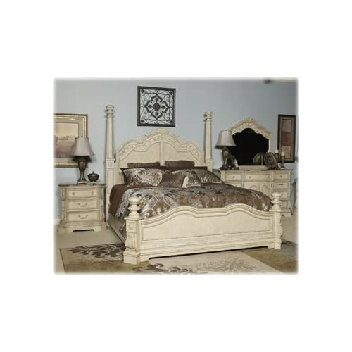Ashley ortanique king poster bed old world in for Bedroom furniture amazon