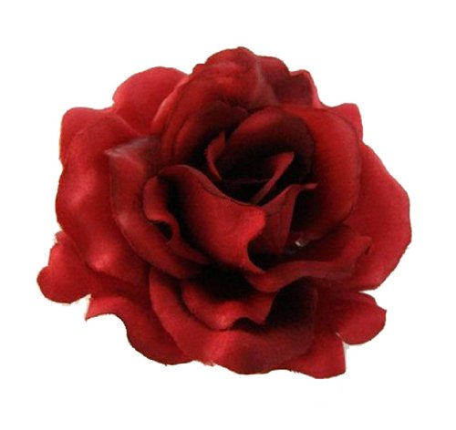 Silk Rose Flower Hair Clip Bridal Wedding 3 Inches. (Red) (Rose Clip compare prices)