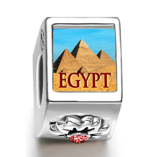 Soufeel Travel Egypt pyramids January birthstone photo flower European charm bead