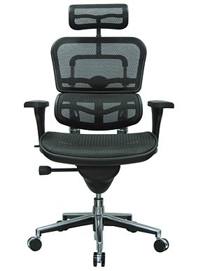 Ergohuman High Back Executive Chair with Headrest - Black Mesh Seat and Black Mesh Back - ME7ERG-Black