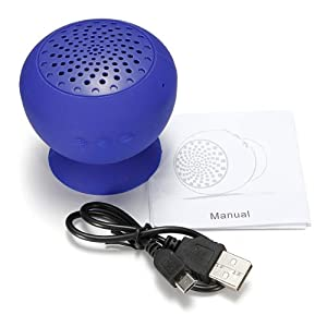 Mini Wireless Bluetooth Mp3 Speaker Suction Sucker Silicone Mic Hands Free (Blue Mini Speaker) by MECO Co.,LTD