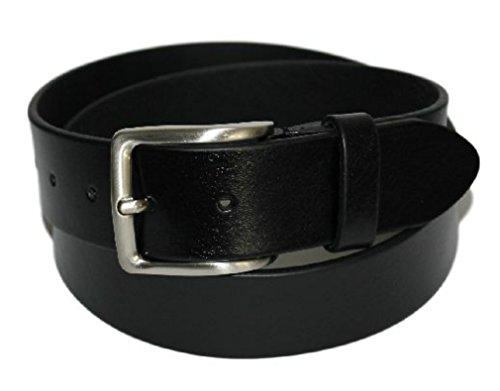 ITALOITALY - Cintura in Cuoio, Uomo, Donna, Nera, Vera Pelle, Made in Italy, Accorciabile, Alta 4cm. (Girovita 100 = Lunghezza totale cm 115)