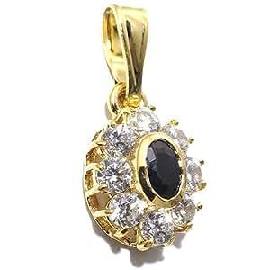 Gioie Pendentif Femme en Or 18 carats Jaune avec Saphir et Zircon Blanc, 2.3 Grammes