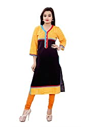 MSONS Women's Black Embroidered Button V-Neck Long Cotton Kurti