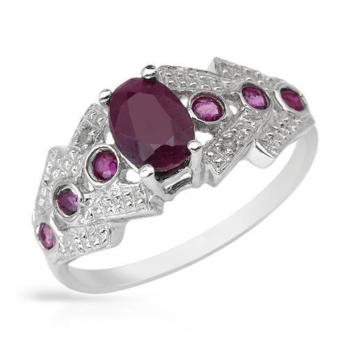 Ring With 1.05ctw Precious Stones - Genuine Diamonds, Rubies Beautifully Designed in 925 Sterling silver (Size 7)