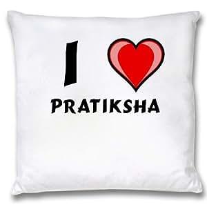 Amazon Com White Cushion Cover With I Love Pratiksha