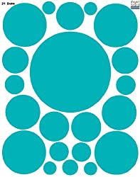 Polka Dot Decals -Teal Peel Stick Removable Wall Stickers
