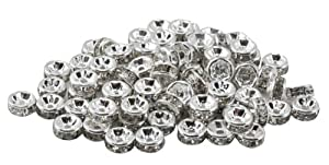 100 Pieces 6mm Crystal White Silver Plated Crystal Rondelle Beads, Spacer Beads
