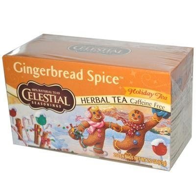 Фото Celestial Seasonings Holiday Herbal Tea - Gingerbread Spice - Caffeine Free - Case of 6 - 20 Bags