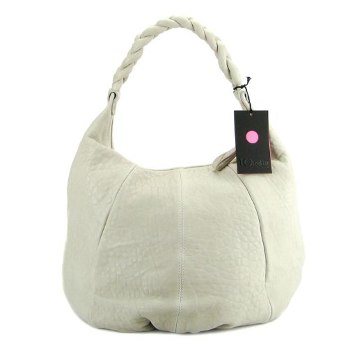 IO Pelle Italian Designer Light Gray Leather Large Hobo Bag Shoulder Bag with Pouch