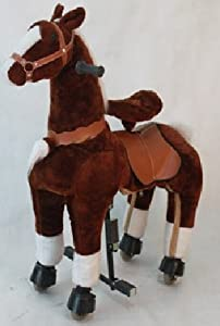 Dark Chocolate Brown Med Pony Rocking Horse Ages 5-10 Ride on Toy with Trotting Action Giddy Up Cowboy!