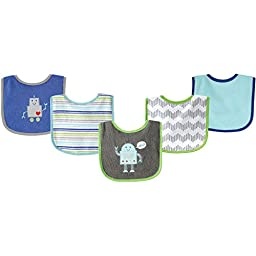 Luvable Friends 5 Piece Drooler Bibs with Waterproof Backing, Blue Robot