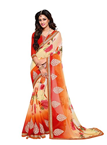 Oomph! Sarees Collection - Georgette Sarees for Women Party Wear With Floral Prints And Raw Silk Blouse (Garner
