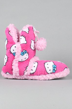 Image of Hello Kitty Intimates The Hello Kitty Super Plush Slipper Boots in All Pink,Accessories for Women (B005HHTNNG)