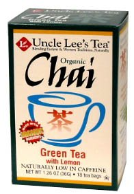 Organic Green Tea Lemon Chai-18 Bags Brand: Uncle Lees Tea