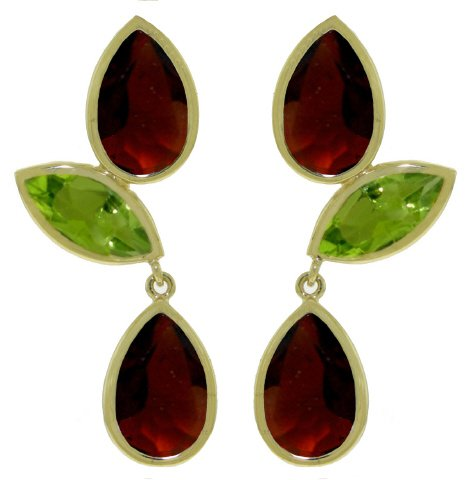 14K Rose Gold Chandeliers Earring With Garnets And Peridots