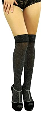 ToBeInStyle Women's Shimmering Thin Striped Thigh Hi Stocking