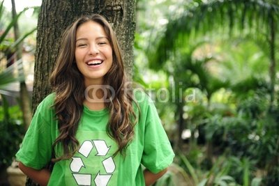 """Wallmonkeys Peel and Stick Wall Decals - Environmental Activist in the Forest Wearing Recycle T-shirt - 18""""W x 12""""H Removable Graphic"""