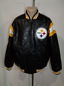 PITTSBURGH STEELERS Mens LARGE FAUX LEATHER JACKET NFL BLACK EMBROIDERED NWT!! by NFL