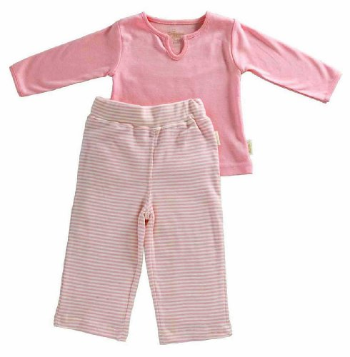 Tadpoles Organic Cotton Girls Pant And Top 2 Piece Set, Salmon, 0-3 Months