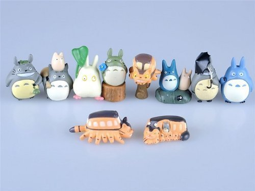 Totoro 10 Piece Figure Set Including Chu Totoro, Chibi, and Catbus - 1
