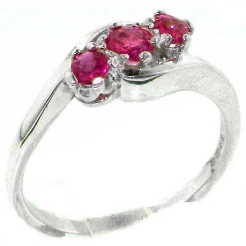 Luxury Solid English Sterling Silver Natural Ruby Trilogy Ring - Size 11.75 - Finger Sizes 4 to 12 Available - Suitable as an Anniversary ring, Engagement ring, Eternity ring, or Promise ring